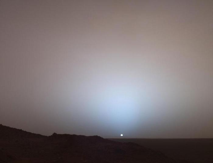 This is a sunset.  This is Mars.