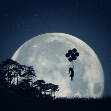 paula,fly-away,trees-moon-cute-art-nature-girl-grass-silhouette-forest-balloons-happy-hope-freedom-fly