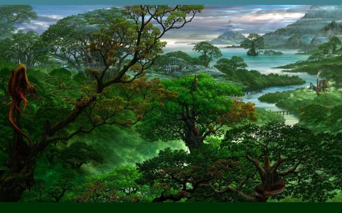 Painted-Fantasy-Jungle-Wallpaper